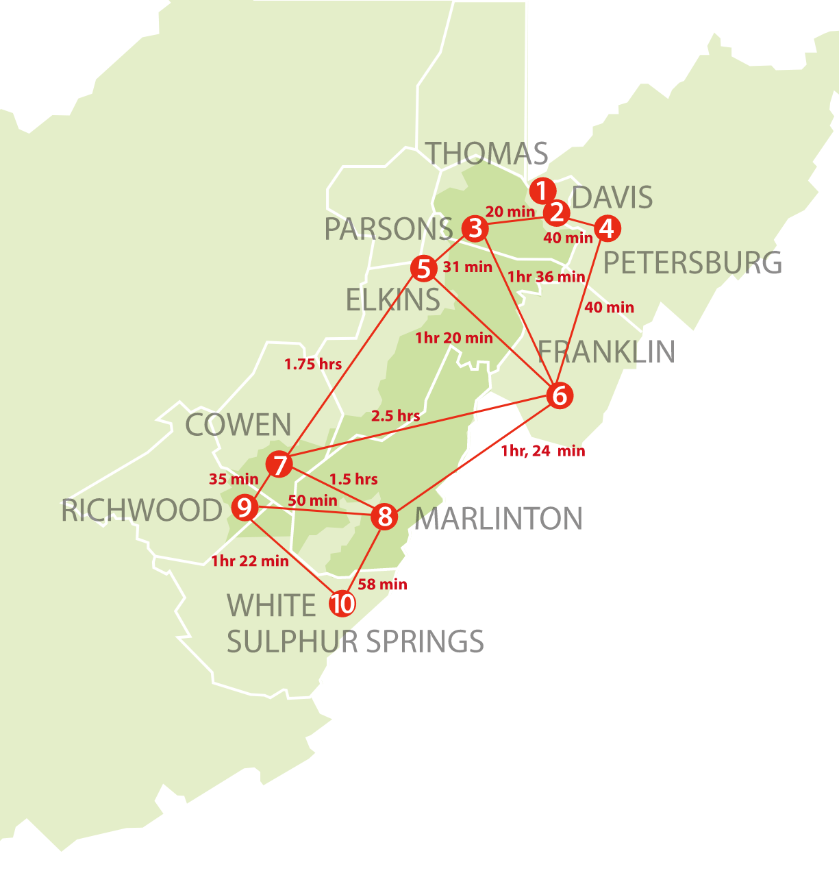 map showing connection between 10 towns