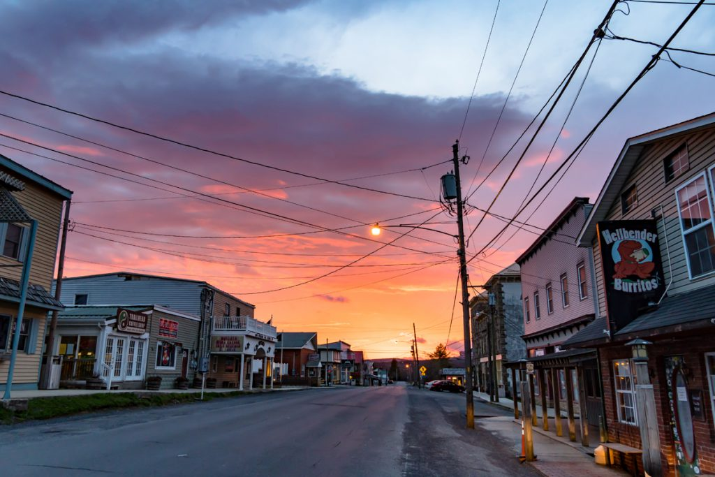 Sunset over the main drag