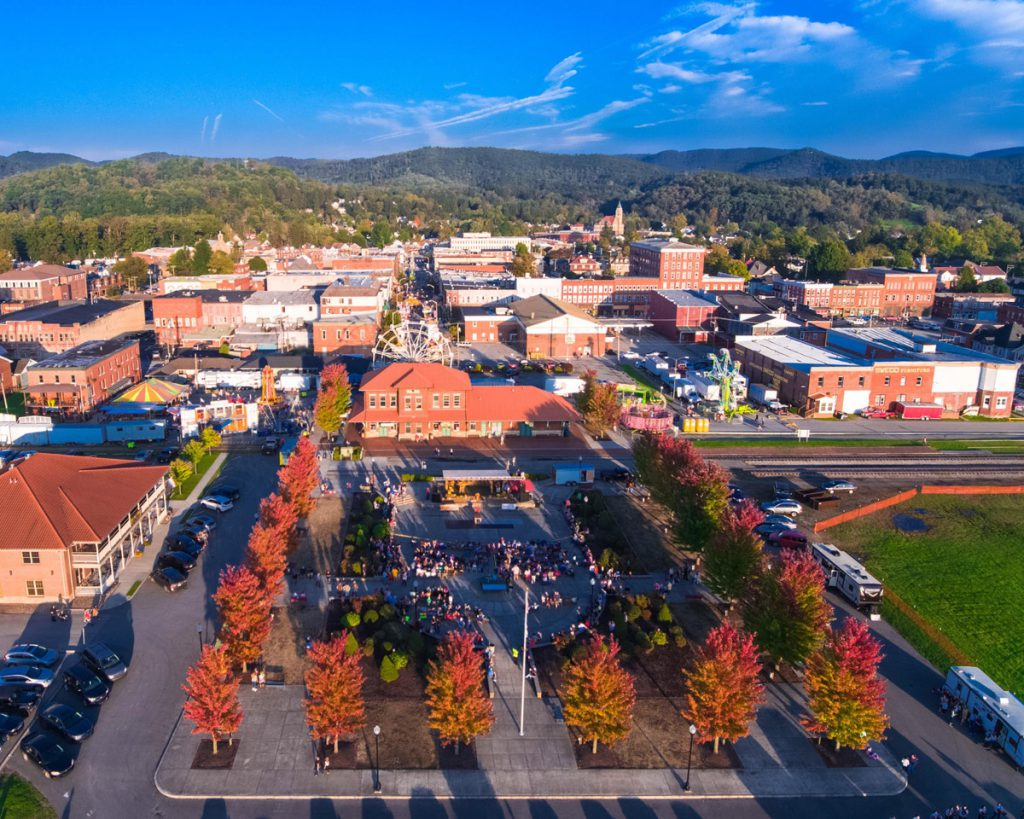 Downtown Elkins with fall colors