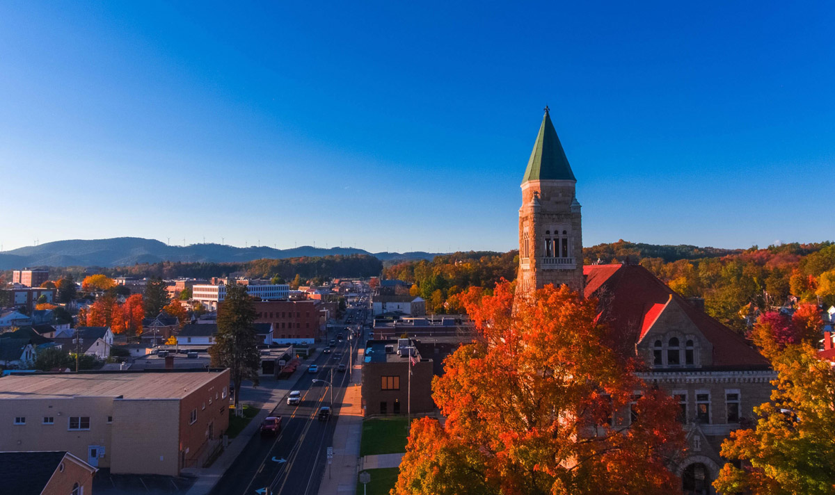 Downtown Elkins with fall colors and the Randolph County Courthouse
