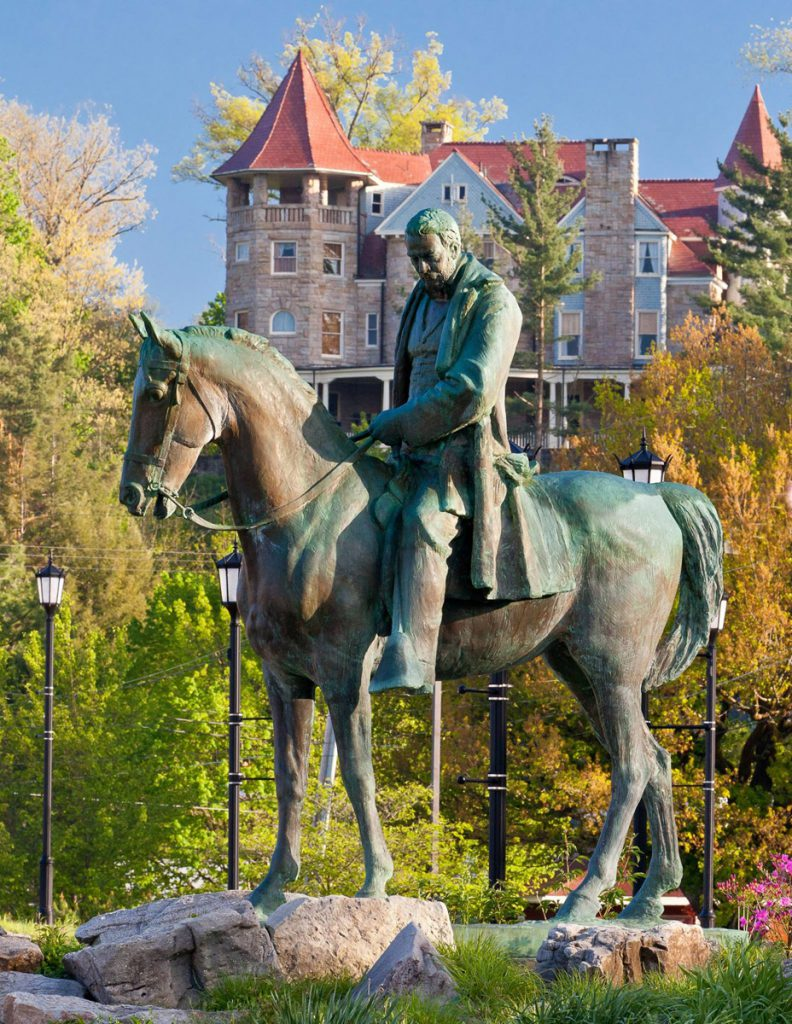 The Iron Horse Statue is a larger-than-life-size bronze equestrian statue of Elkins benefactor, Sen. Henry Gassaway Davis mounted on a horse