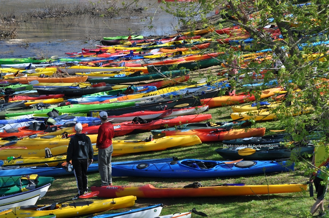 Kayaks prepared for the 2nd stage of the Great Greenbrier River Race.
