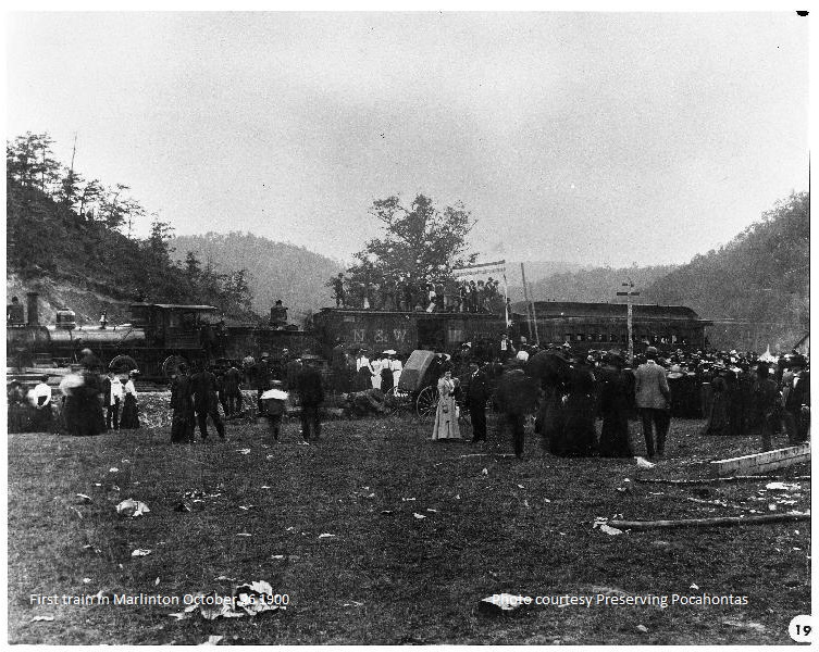 The first train in Marlinton, October 26, 1900.