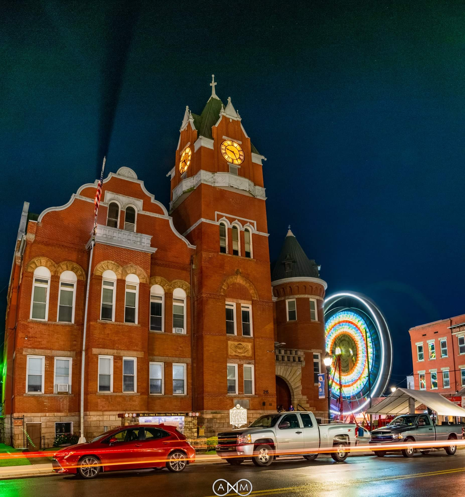 The Tucker County Courthouse lit up with carnival lights