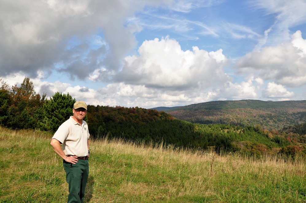 U.S. Nation Forest Service District Ranger Jack Tribble standing with arms of hips in the Mower Tract.