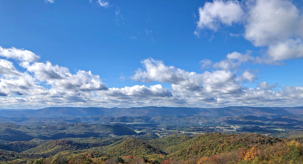 View of the Allegheny Mountains and the community of Green Bank in Pocahontas County.