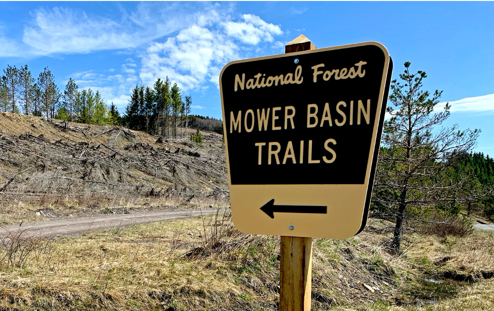 Signage reading National Forest Mower Basin Trails